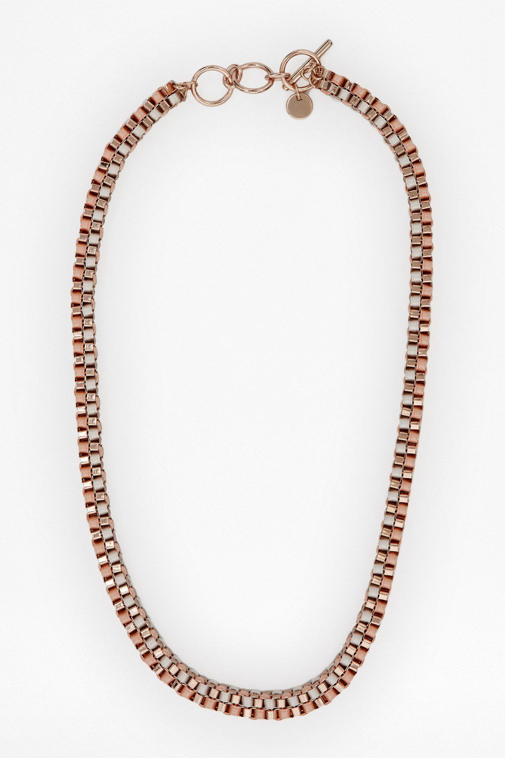 Ribbon wrapped boxchain collar necklace