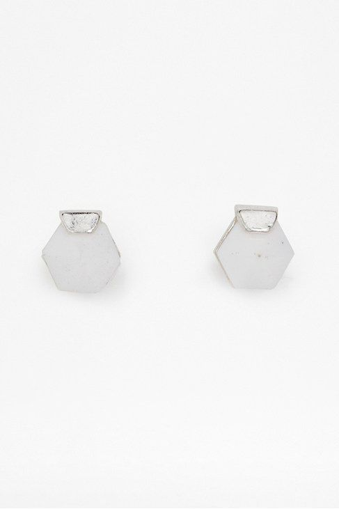 Hexagon perspex stud earrings
