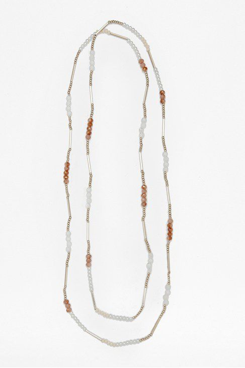 Pearl bead & tube rope necklace
