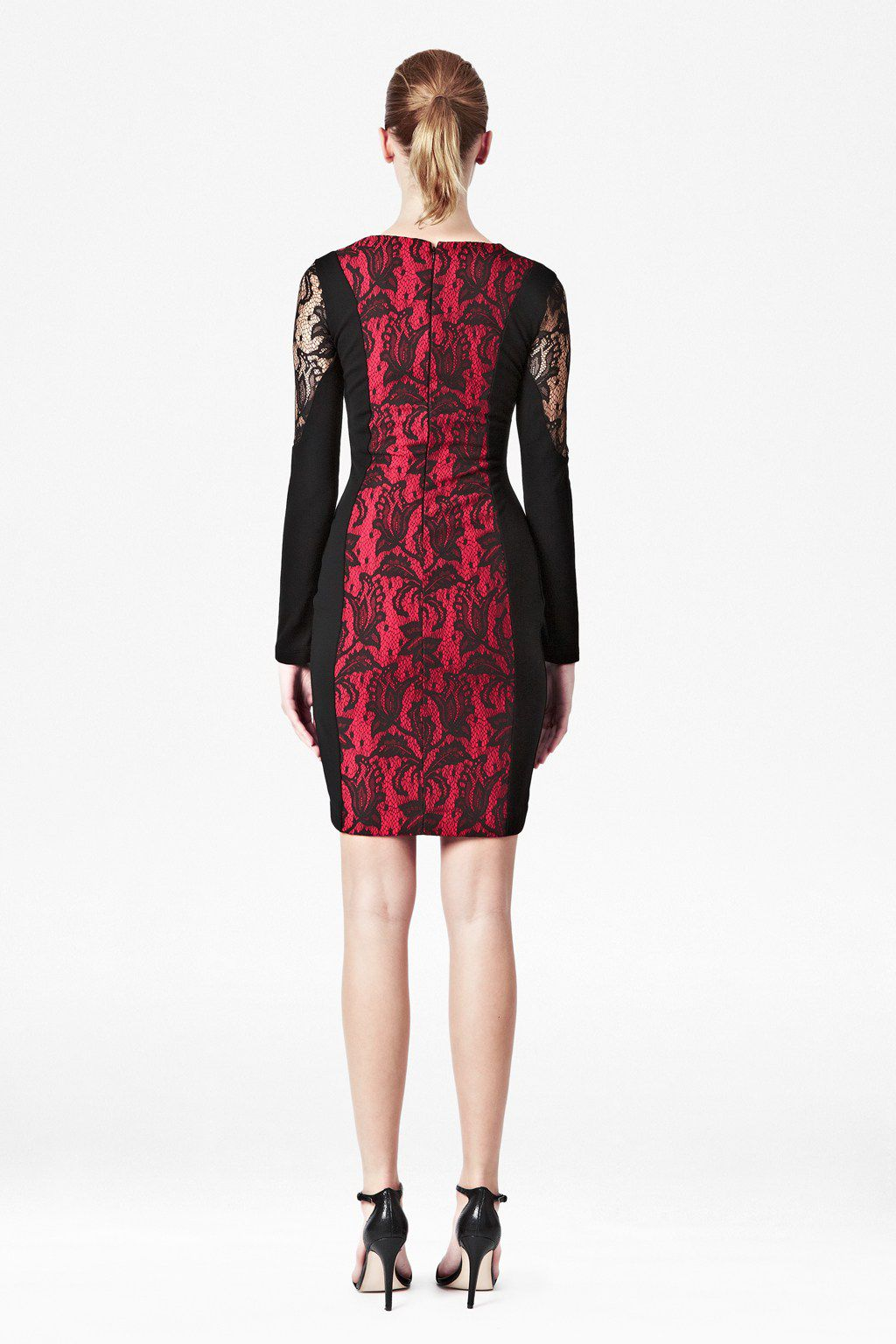 Lavinia lace panneled longsleeve dress