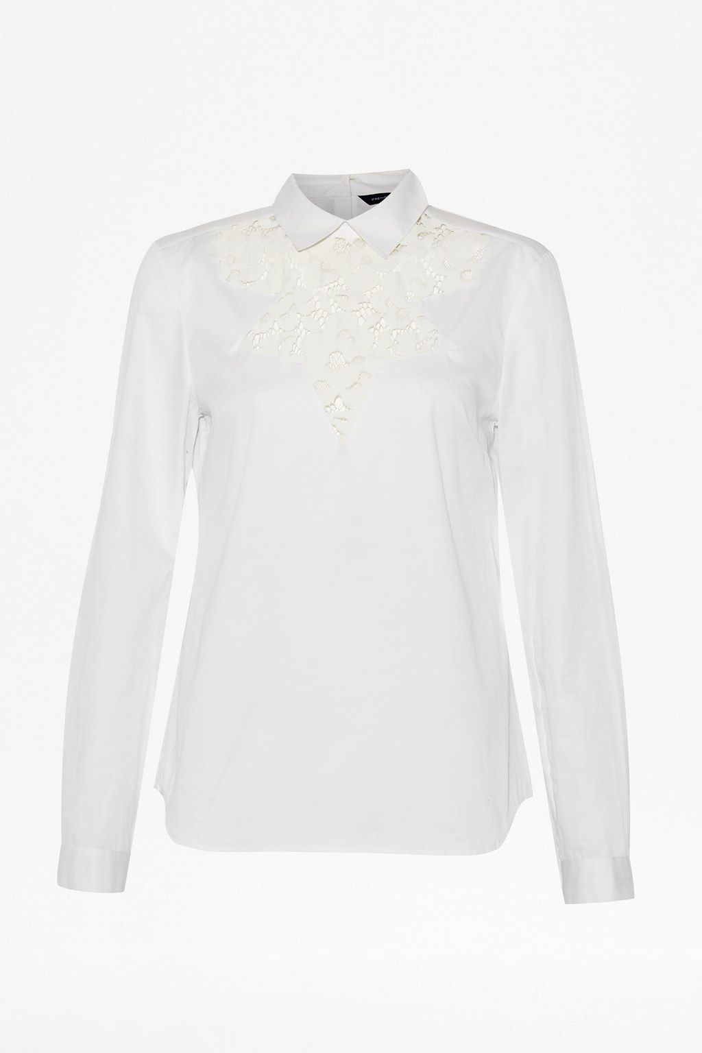 Summer fresh long sleeve lace insert top