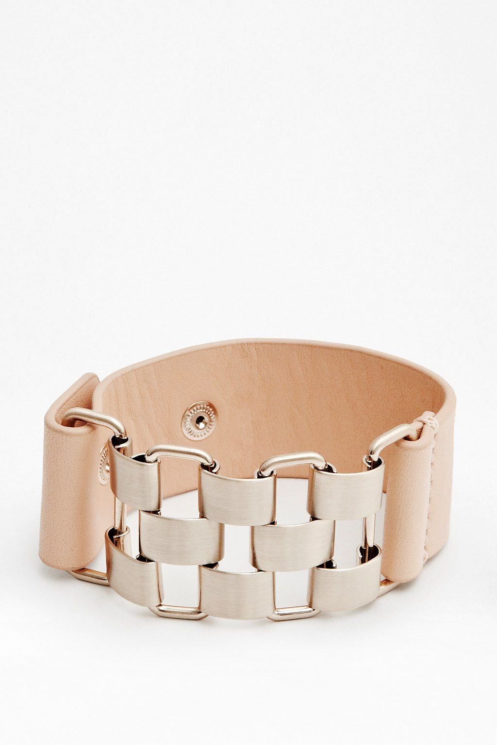 Multi link&leather strap bracelet