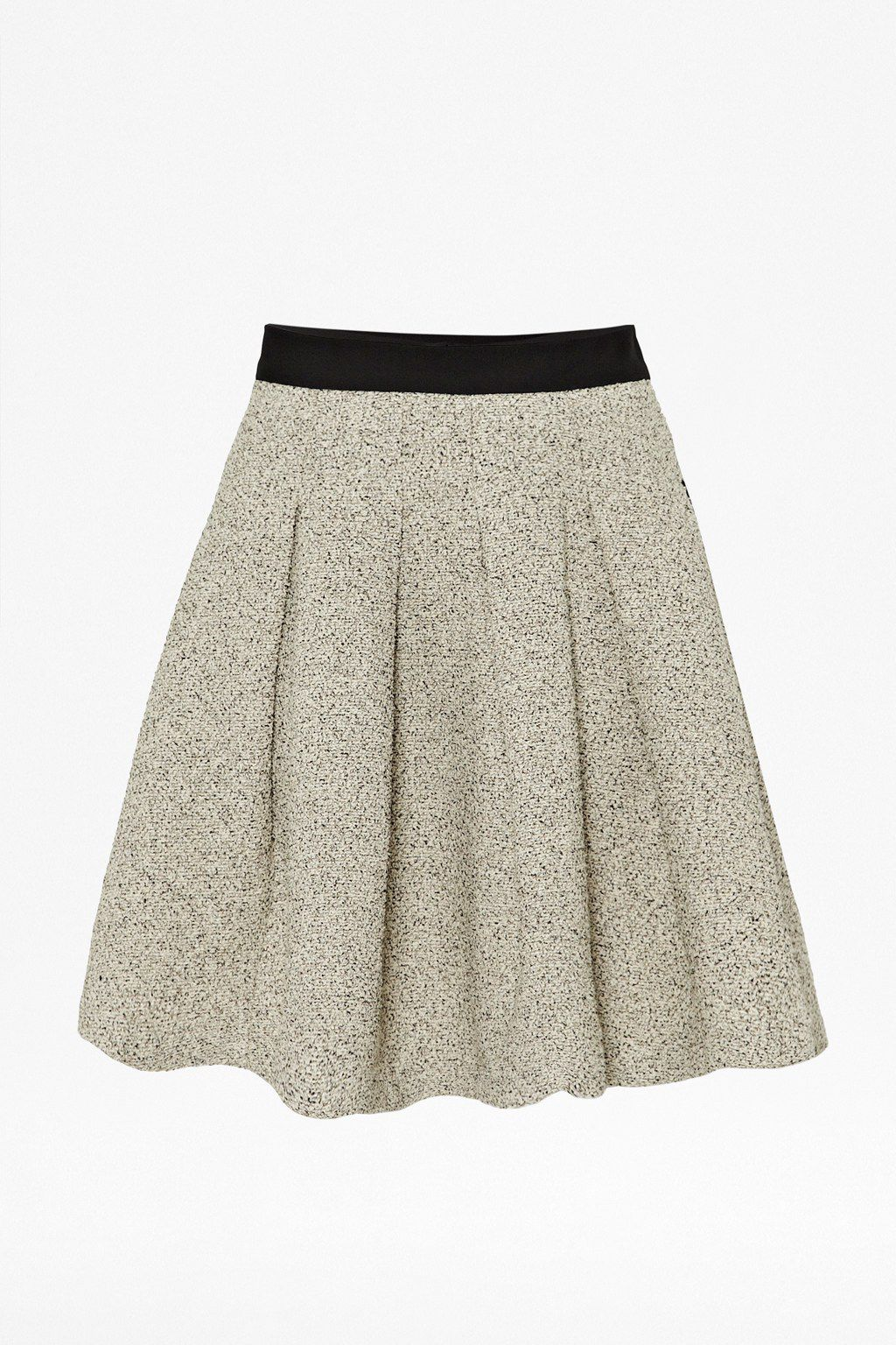 Salt and pepper cotton flared skirt