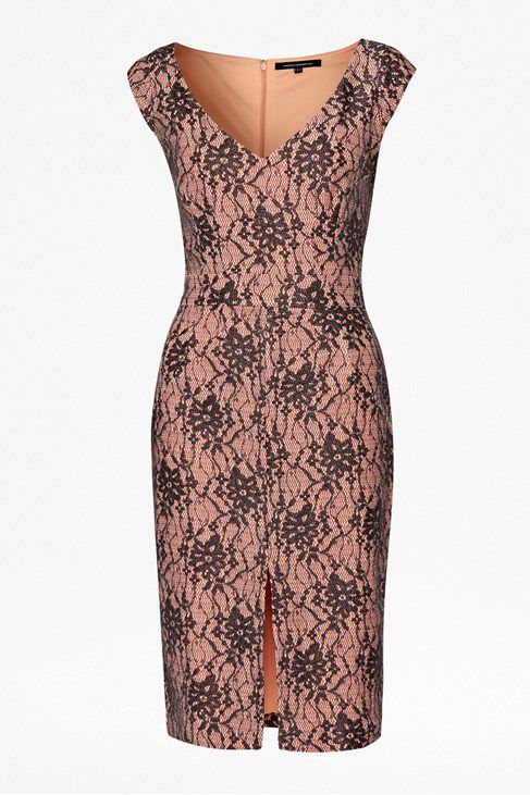 Lara lace v neck cap sleeve dress