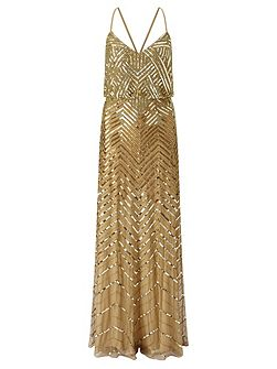 Sleeveless sequin evening dress