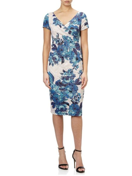 Adrianna Papell Multicolour jacquard cocktail dress