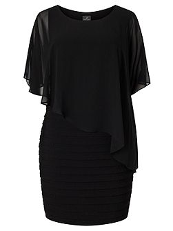 Plus Size 3/4 Sleeve Asymmetric Popover Dress