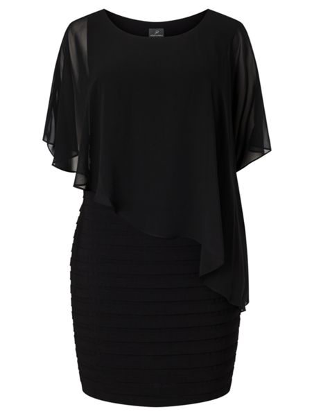 Adrianna Papell Plus Size 3/4 Sleeve Asymmetric Popover Dress