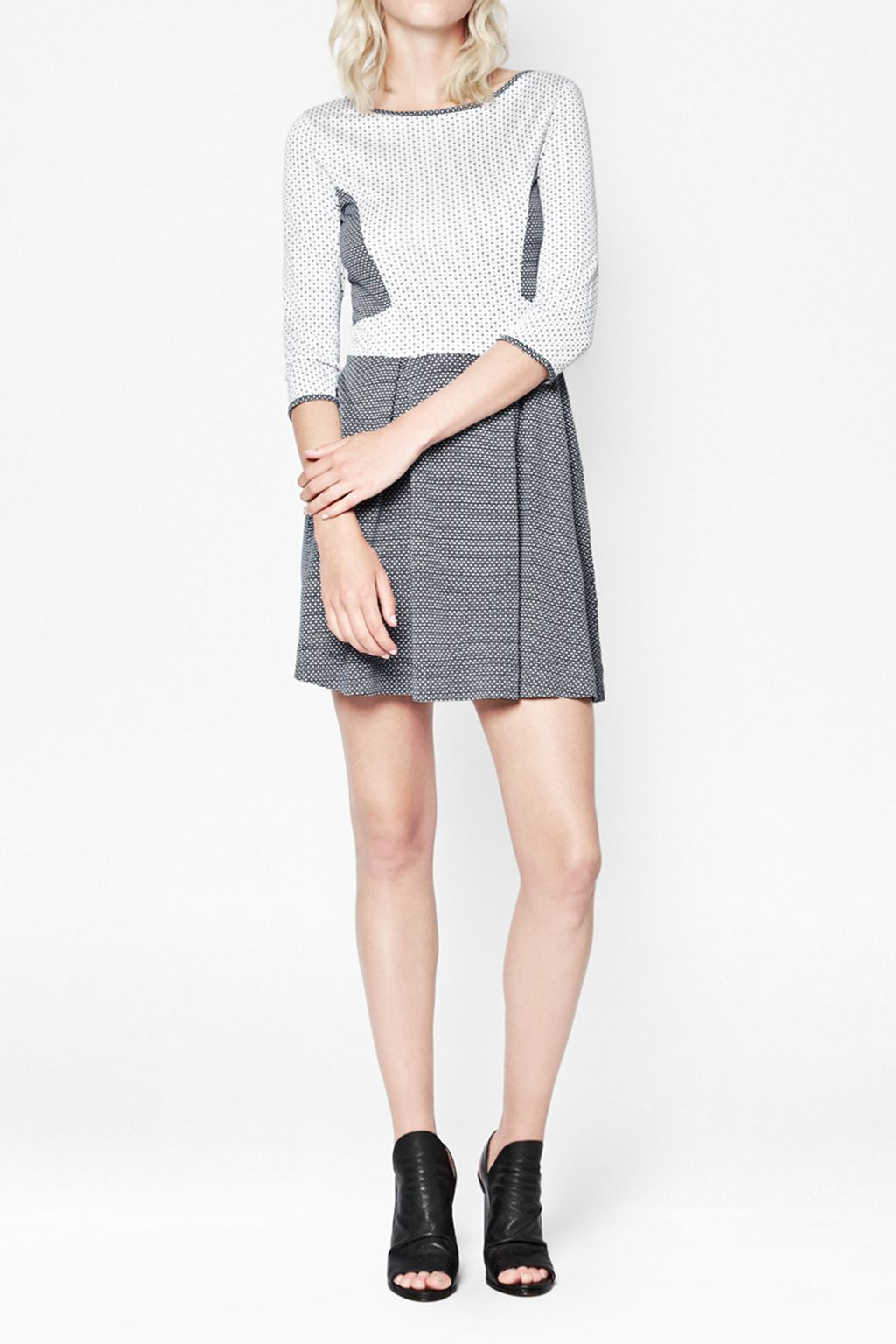 Mini modern mosaic jersey flared dress