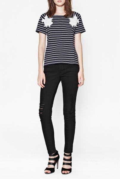 French Connection Sandra lace striped t-shirt