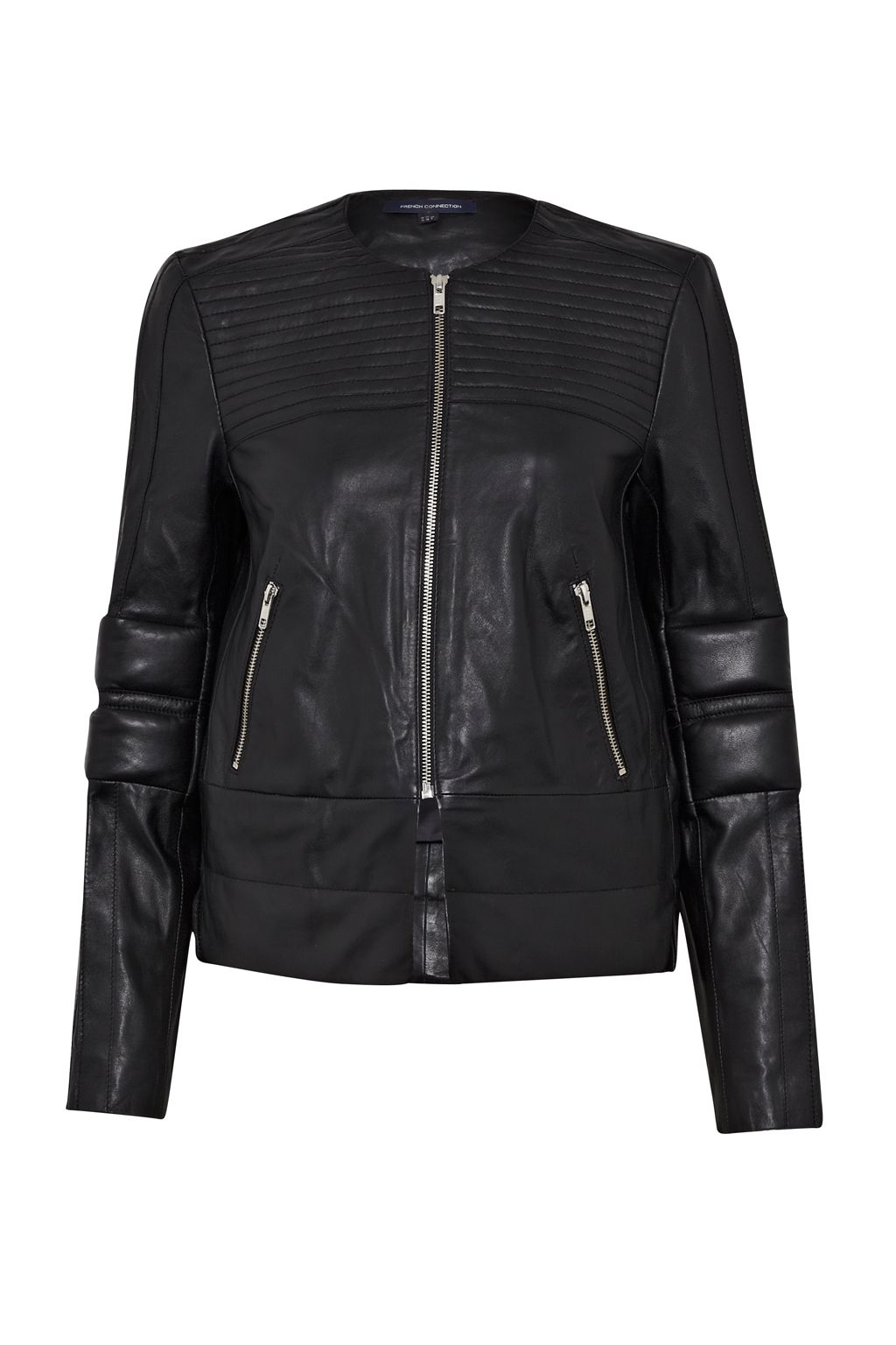 French Connection Jetson leather Biker Jacket, Black