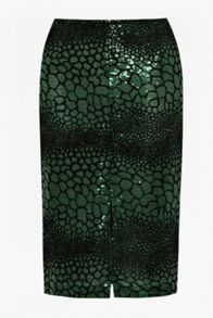 Croc flock textured pencil skirt