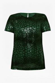 Croc flock textured top