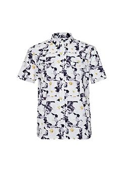 Vienot Rose Floral Slim Fit Short Sleeve Shirt
