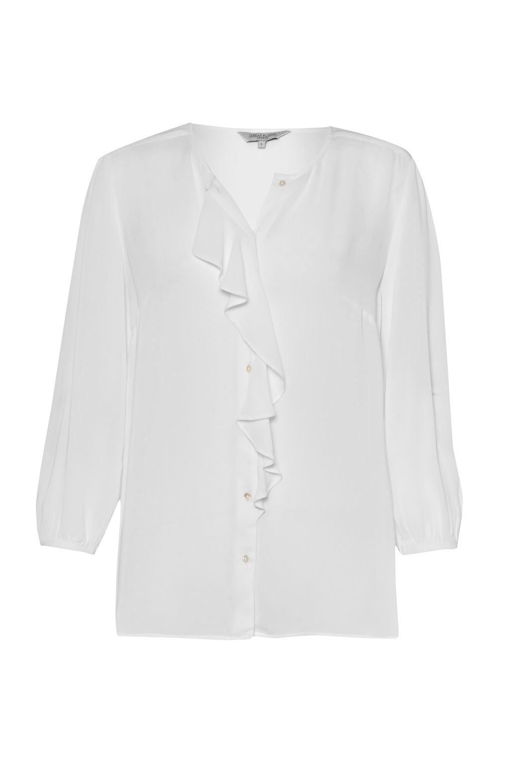 Great Plains Courtney Crepe Frill Shirt, White