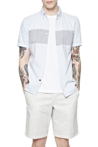 French Connection Stripe Slim Fit Short Sleeve Button Down Shirt
