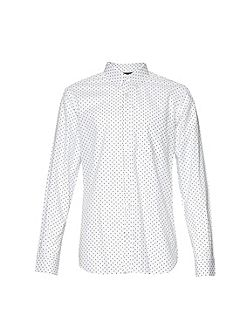 Polka Dot Slim Fit Long Sleeve Button Down