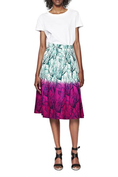 French Connection Sea Fern Flared Poplin Skirt
