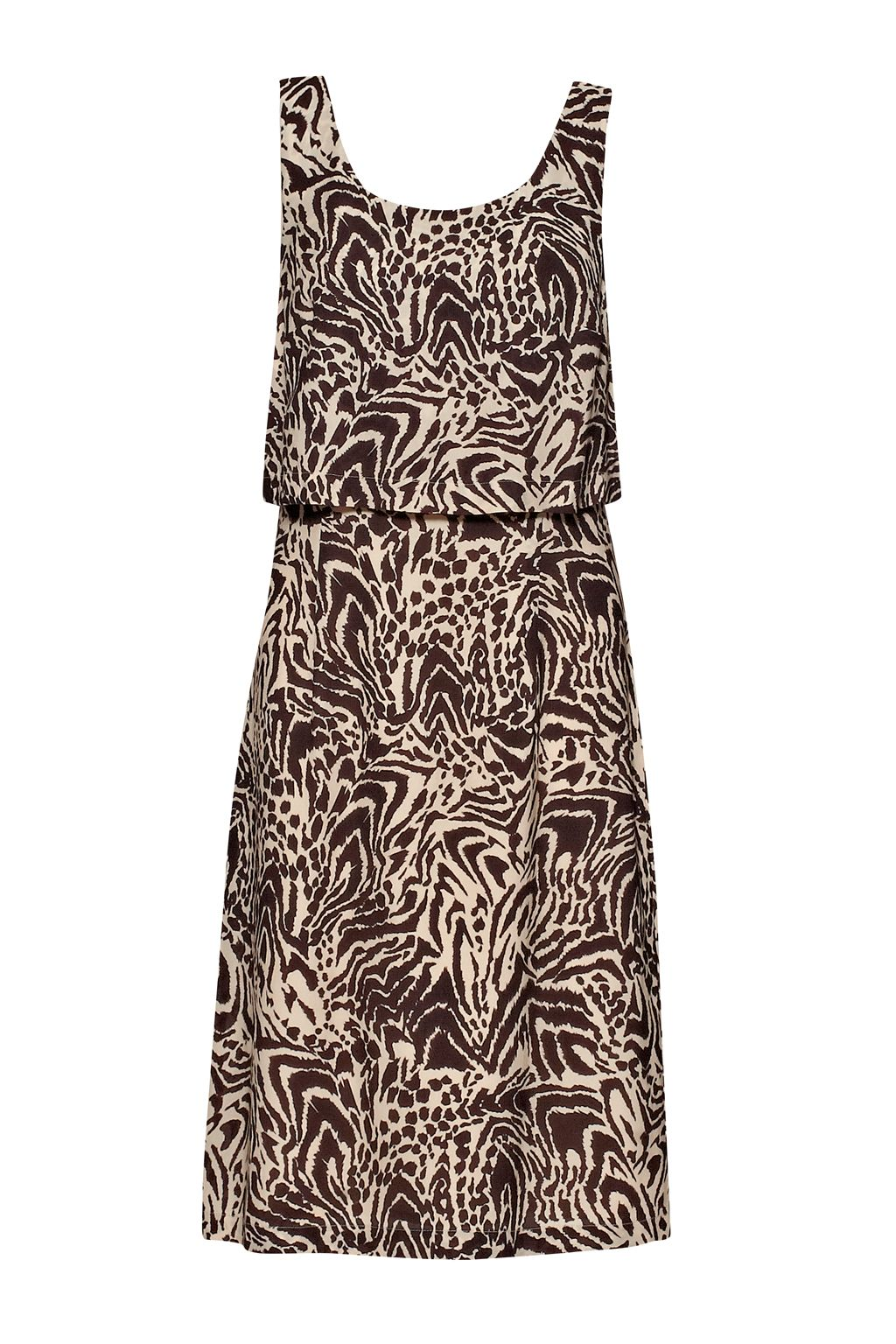 Great Plains Great Plains Simba Print Layer Dress, Brown
