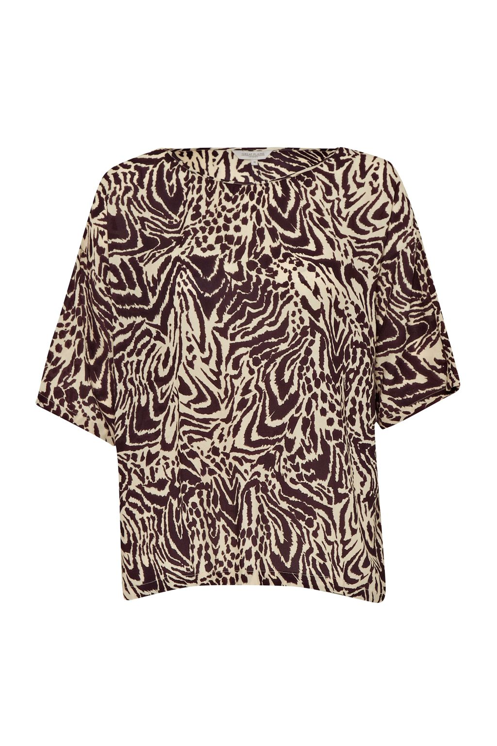 Great Plains Great Plains Simba Print Slouchy Top, Brown