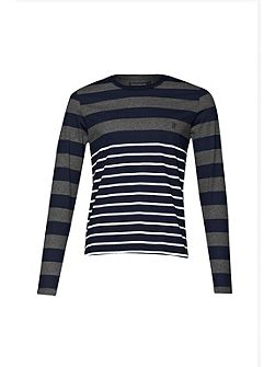 Men's French Connection Stripe Crew Neck Regular Fit