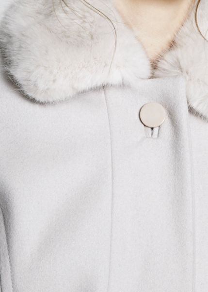 French Connection Platform Felt Fur Collar Coat
