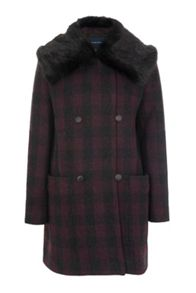 French Connection Highland Wool Fur Collared Coat