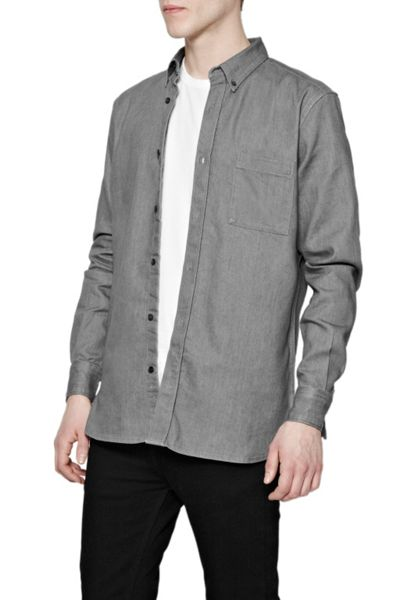 French Connection Plain Slim Fit Long Sleeve Button Down Shirt
