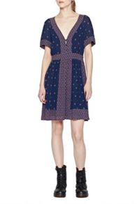 Woodstock Georgette V Neck Dress