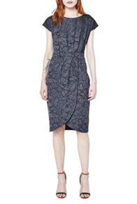 French Connection Shatter jacquard wrap dress