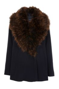 French Connection Mia Wool Fur Collar Jacket