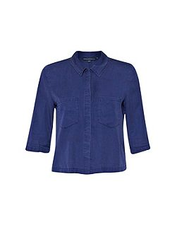 Cobalt tencel cropped shirt