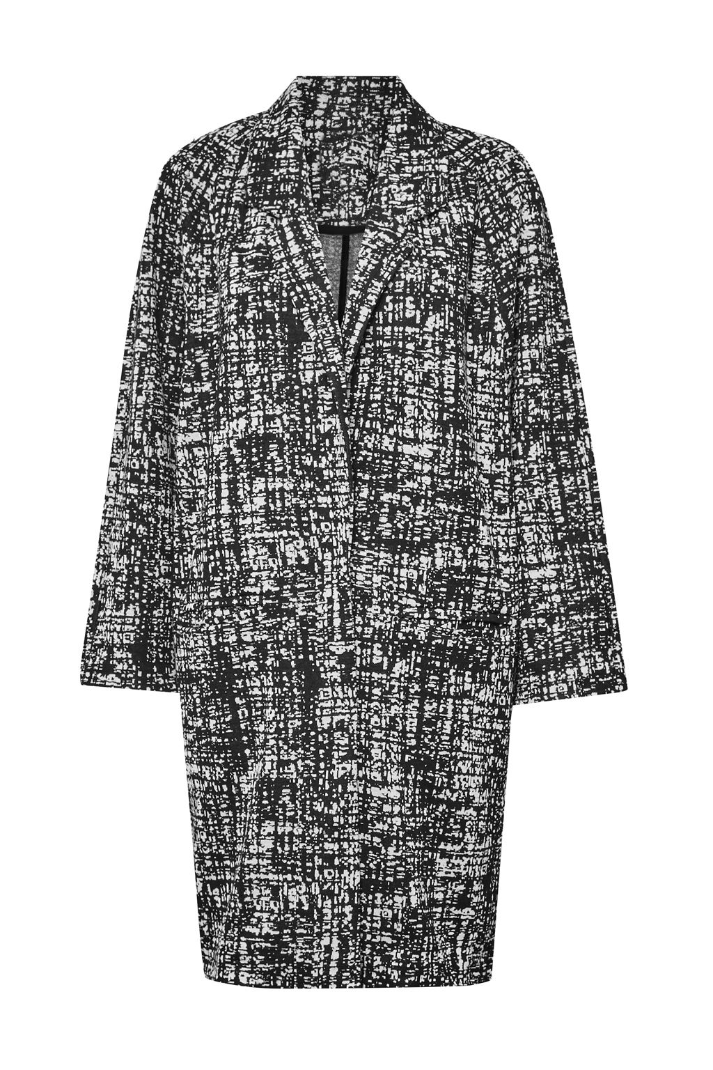 Great Plains City Scribble Coccon Coat, Black Multi