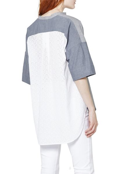 French Connection Ellis mix 3/4 sleeve tunic shirt