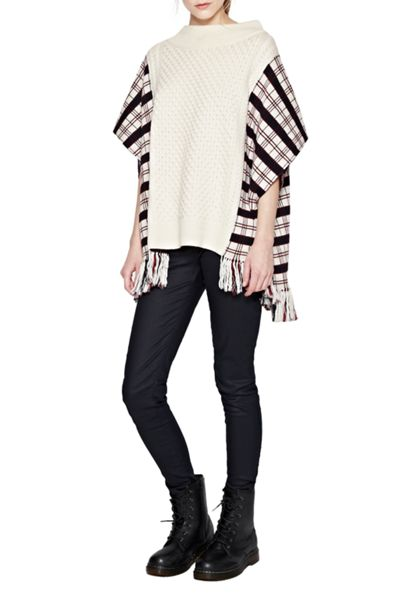 French Connection Harry Tartan Wool Poncho
