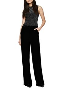 French Connection Jet Velvet Palazzo Trousers