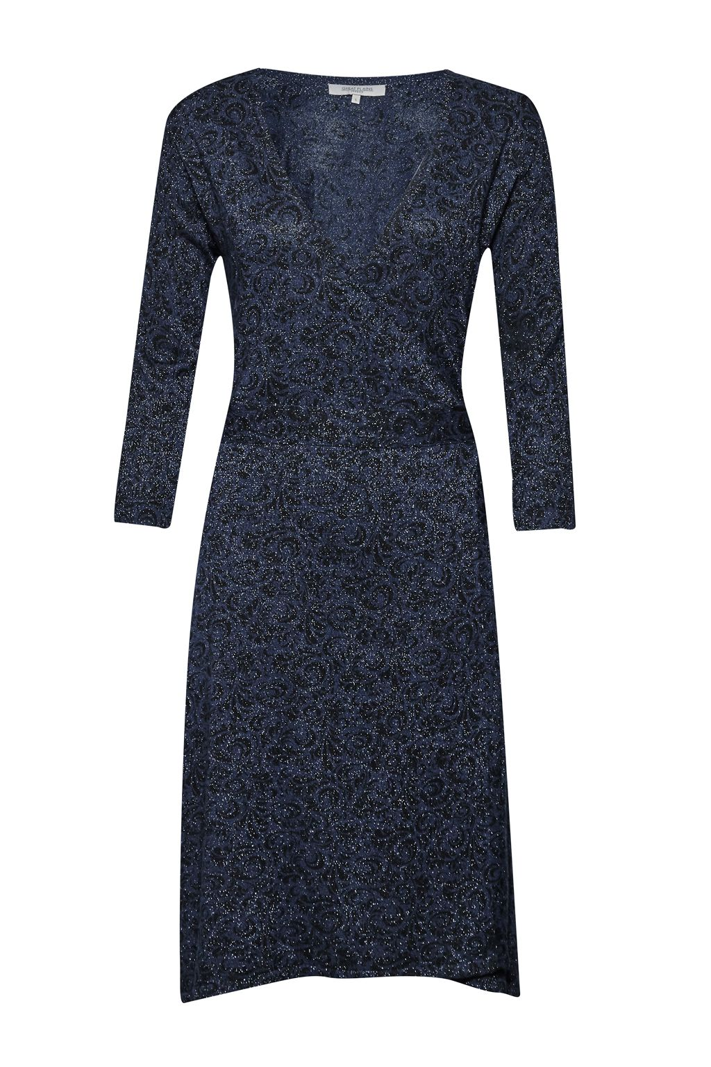 Great Plains Baroque Rock Wrap Dress, Blue