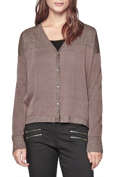 Great Plains Boulevard Knits Metallic Trim Cardigan