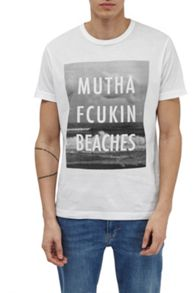 French Connection Mutha Fcukin Beaches Slogan T-Shirt