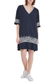 French Connection Jasmine Drape Embroidered Tunic Dress