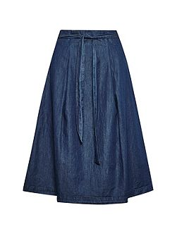 Lightweight Denim High Waisted Skirt
