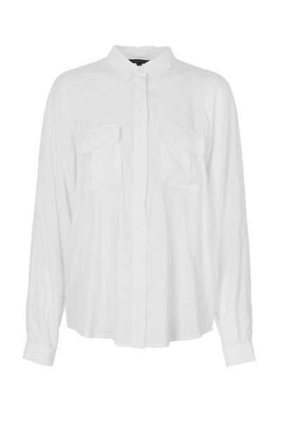 French Connection Cupro Spring Utilitarian Shirt