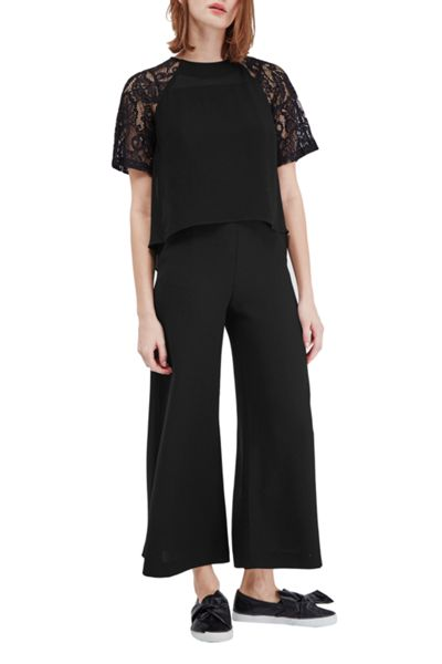 French Connection Taza Lace Waterfall Hem Top