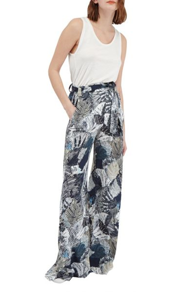 French Connection Lala Palm Drape Wide Leg Trousers