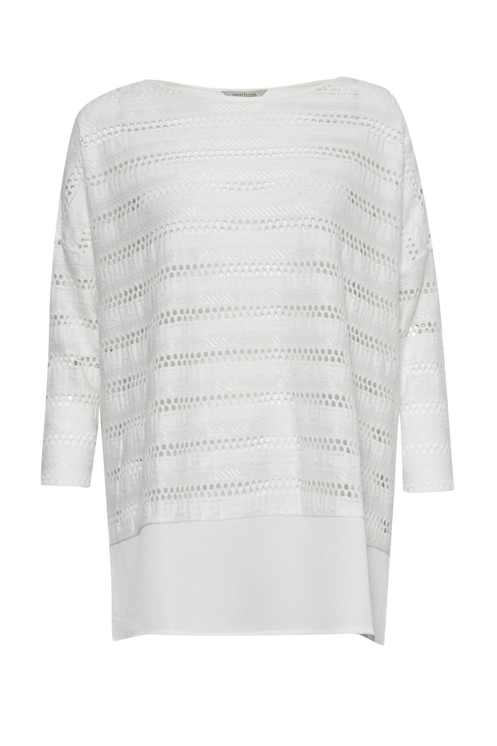 Great Plains Tabitha Jersey Perforated Detail Top, White