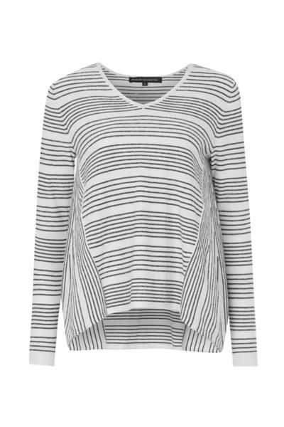 French Connection Pinstripe Crochet Trim Detail Jumper
