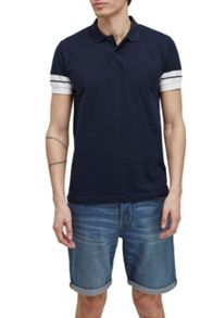 French Connection Dip Sleeve Striped Polo Shirt