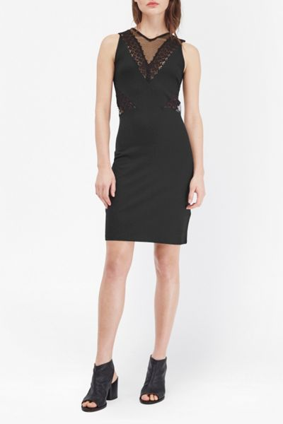 French Connection Savannah Mesh and Lace Bodycon Dress