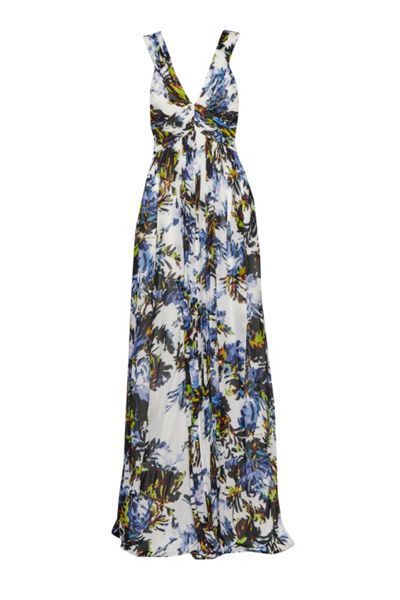 French Connection Kiki Palm Ruched Maxi Dress
