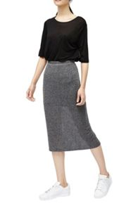 French Connection Flicker Rib Metallic Midi Skirt